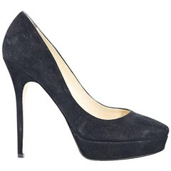 Black Jimmy Choo Suede Platform Pumps