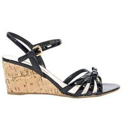 Black Prada Sport Patent Leather Wedge Sandals