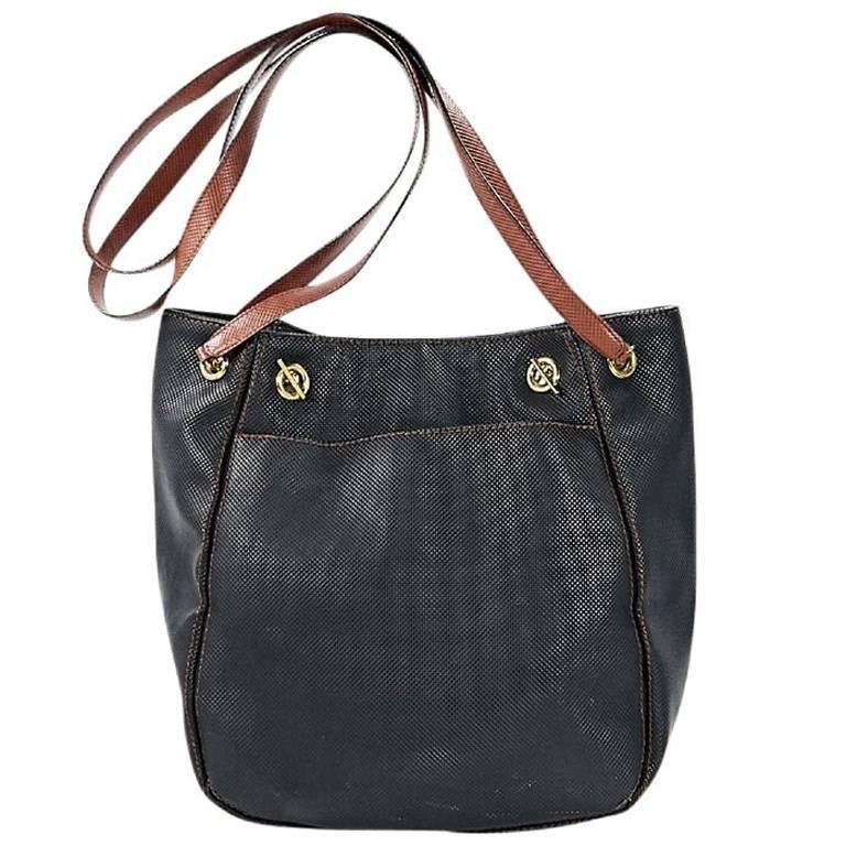 Black Bottega Veneta Embossed Leather Bag For Sale