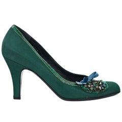 Emerald Green Prada Embellished Satin Pumps