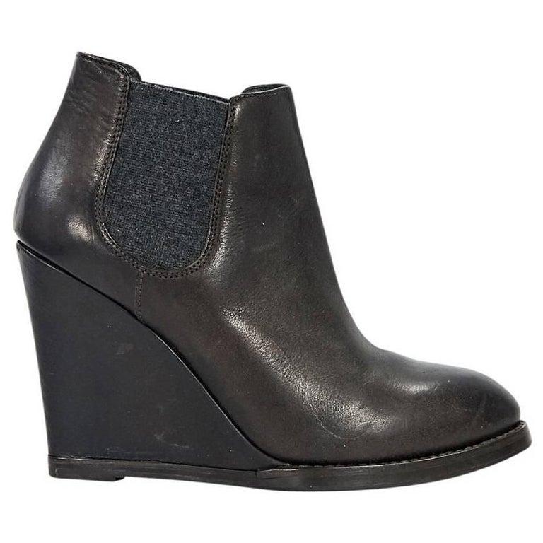 Brown Brunello Cucinelli Wedge Chelsea Boots