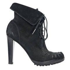 Black Diane von Furstenberg Oiled Suede Ankle Boots