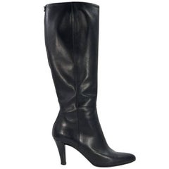 Black Gucci Leather Knee-High Boots