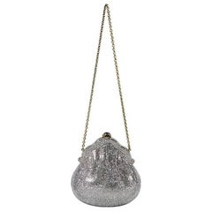 Silver Judith Leiber Crystal-Embellished Minaudiere