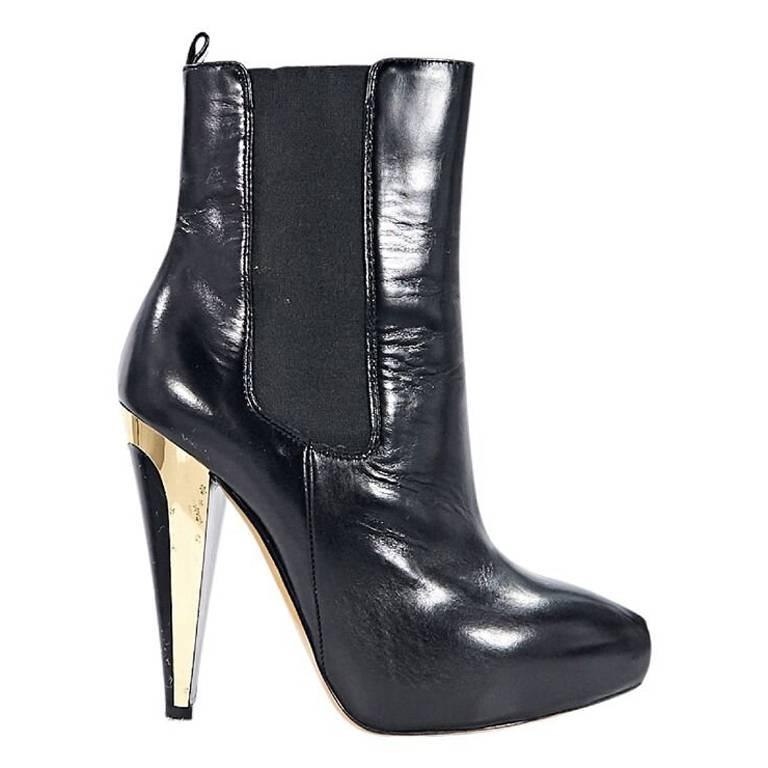 Black Moschino Leather Chelsea Ankle Boots