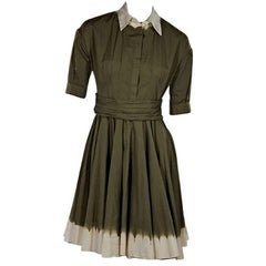 Green Prada Pleated Fit-and-Flare Dress