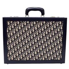 Vintage Christian Dior Trotter Navy Monogram Cotton x Leather Trunk Briefcase