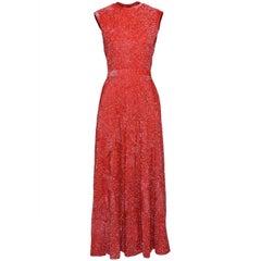 1960s Red Sequins Evening Long Dress