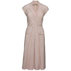 1940s Cream Lace Cotton Day Dress
