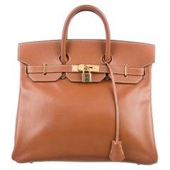 Hermes Birkin 32 Cognac Courchevel Evening Top Handle Satchel Bag