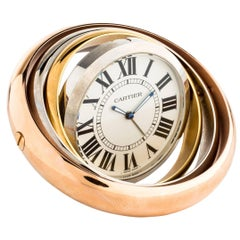 Cartier Tri Tone Silver Rose Gold Men's Round Rotating Travel Desk Table Clock