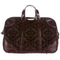 Gucci New Brown Crocodile Men's Women's Jacquard Weekender Top Handle Travel Bag