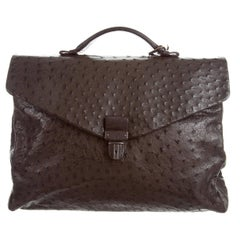 Bottega Veneta Brown Intrecciato Ostrich Top Handle Satchel Carryall Travel Bag