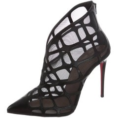 Christian Louboutin New Black Leather Mesh Ankle Boots Booties in Box