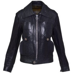 1960s PIERRE CARDIN Dark Green Leather Jacket