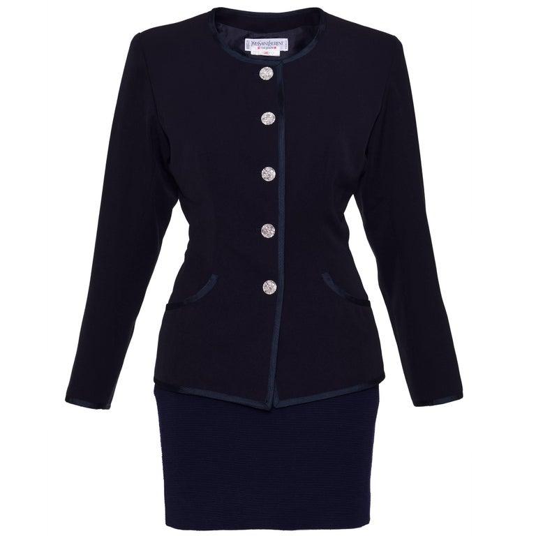 1980s YVES SAINT LAURENT Rive Gauche Gabardine and Wool Suit Skirt