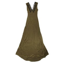 CHRISTIAN LACROIX Evening Gown in Khaki Green Satin Viscose Size 40FR