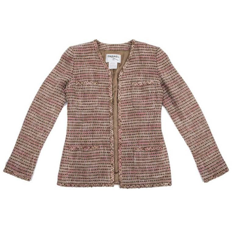 CHANEL Classic Jacket in Beige, Pink and Brown Tweed Size 38FR