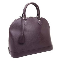 LOUIS VUITTON Alma Handbag in Plum Epi Grained Leather