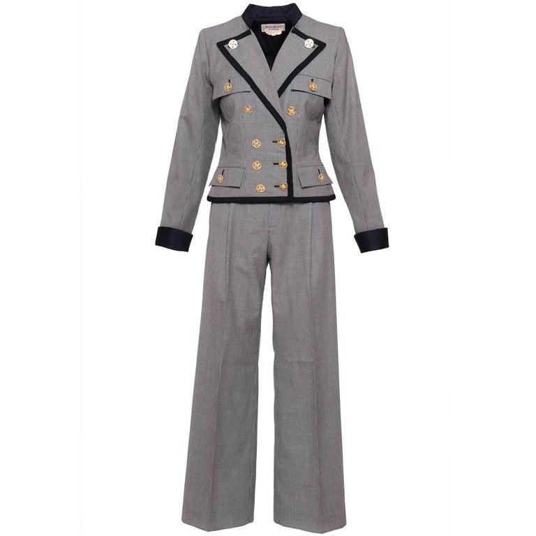 1980s YVES SAINT LAURENT Rive Gauche Pied De Poule Cotton Suit Pants
