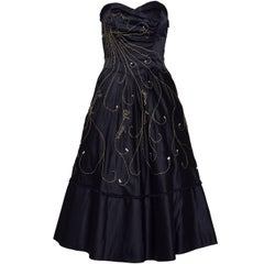1950s Black Trimming Embroidery Silk Cocktail Evening Strapless Circle Dress