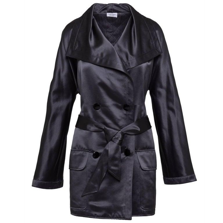 1980s VALENTINO BOUTIQUE Gray Satin Coat Jacket