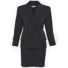 1980s Saint Laurent Rive Gauche Pinstriped 3 pc Suit Pants and Skirt