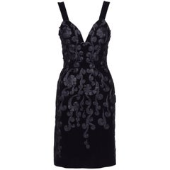 1990s Velvet Embroidery Evening Cocktail Dress