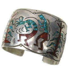 Sterling Silver Inlaid Coral & Turquoise Zuni Story Teller Cuff Bracelet