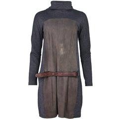 Brunello Cucinelli Grey Wool & Suede Dress Sz L