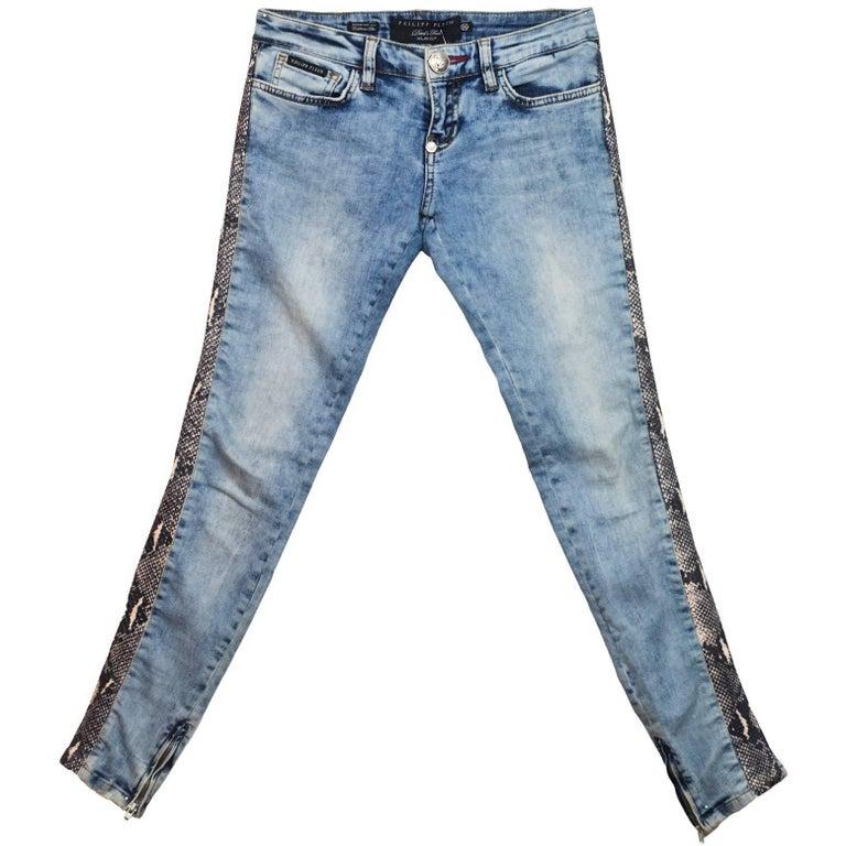 Philipp Plein Snakeskin Jeans Sz 25 For Sale