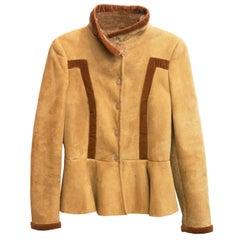 Salvatore Ferragamo Camel Shearling Jacket Sz 8