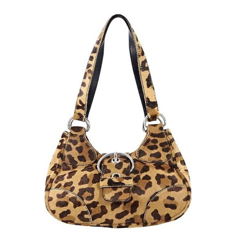 3bec5d48ab9d Tan Prada Leopard-Print Pony Hair Shoulder Bag For Sale at 1stdibs