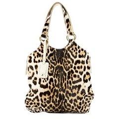 Brown Yves Saint Laurent Leopard-Print Shoulder Bag