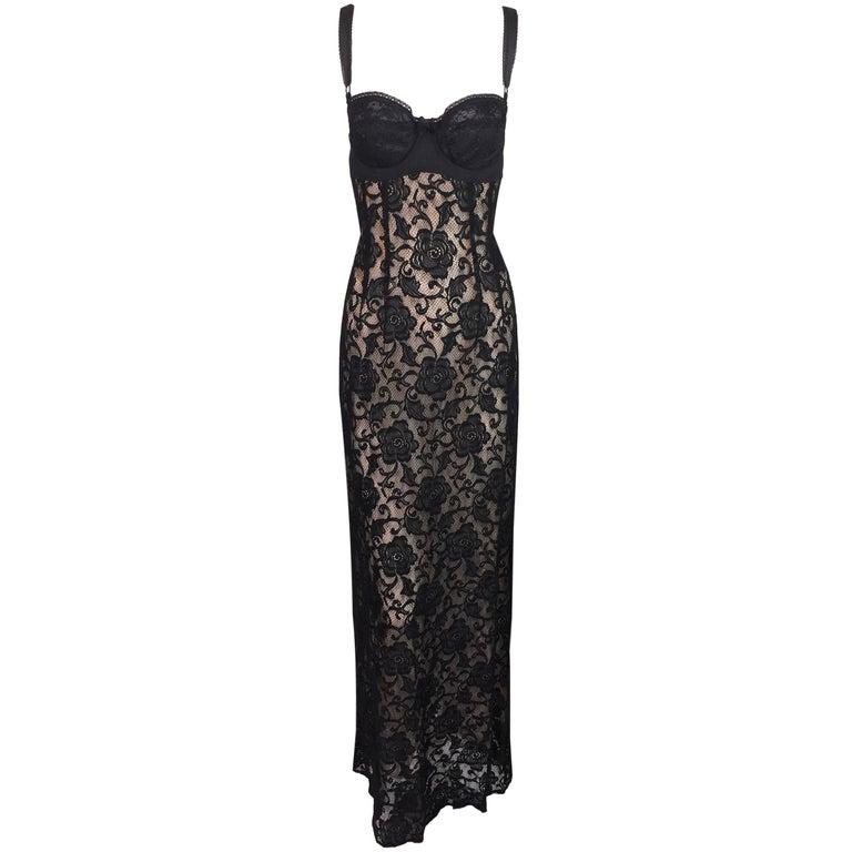 1996 Dolce & Gabbana Sheer Black Mesh Lace Bra Long Gown Dress