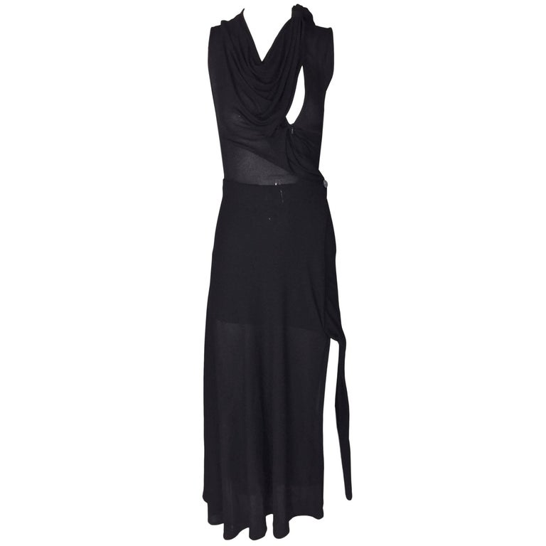 1990's Vivienne Westwood Couture Sheer Black Avant Garde Long Dress Gown XS
