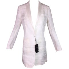 C. 2001 NWT Dolce & Gabbana Sheer Ivory Silk Dress Coat Blazer Menswear 38