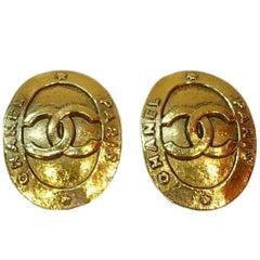 Vintage Chanel Oval Double Cs Clip Earrings