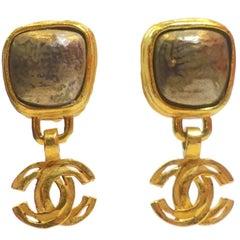 Chanel Vintage Dangling Double Cs Clip Earrings