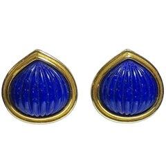 Vintage Yves St. Laurent Blue Pierced Earrings