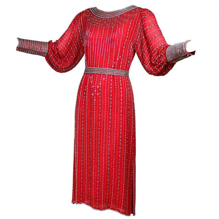 1980s 1920s Flapper Style Beaded Red Silk Vintage Dress W Original Belt  For Sale