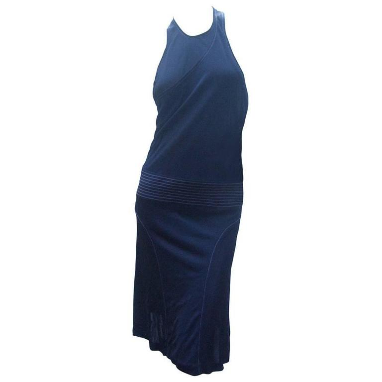 Chanel Sexy Midnight Blue Clingy Jersey Dress Size 38