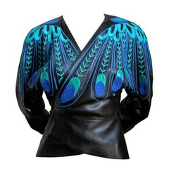 JEAN CLAUDE JITROIS black leather 'peacock feather' jacket