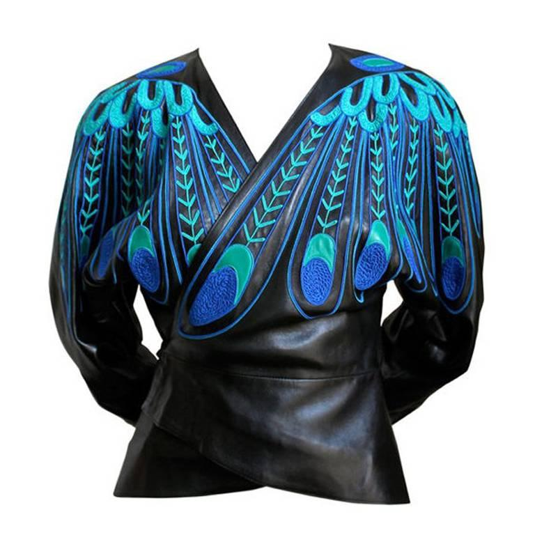 JEAN CLAUDE JITROIS black leather 'peacock feather' jacket For Sale