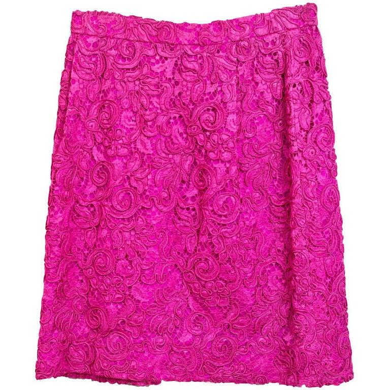 Carolina Herrera Pink Lace Mini Skirt sz US2