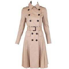 Burberry Prorsum Khaki Belted Trench Coat w/Pleating Below the Waist