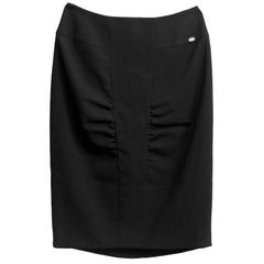 Chanel Black Ruched Wool Skirt Sz FR36