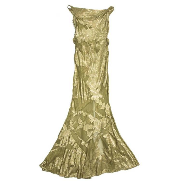 CHRISTIAN DIOR Dress in Green Silk Embroidered with Gold Threads Size 36EU For Sale
