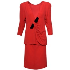 1980s VALENTINO COUTURE Red And Black Suit Skirt