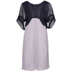 ALBERTA FERRETTI Gray and Black Satin Dress